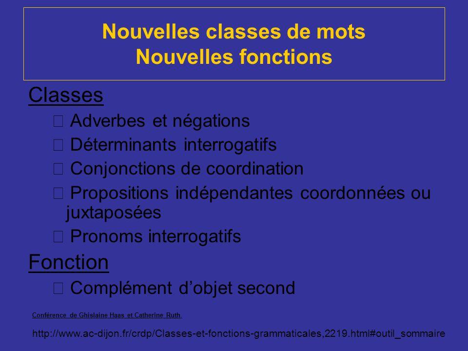 Nouvelles classes de mots Nouvelles fonctions