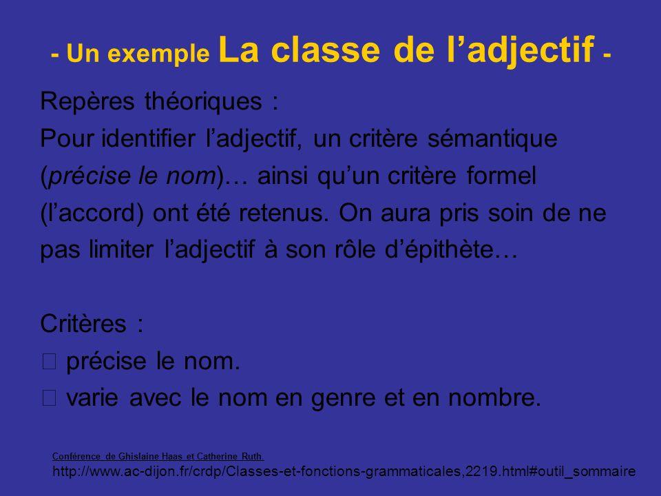 - Un exemple La classe de l'adjectif -
