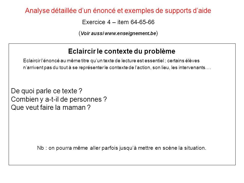 Analyse détaillée d'un énoncé et exemples de supports d'aide