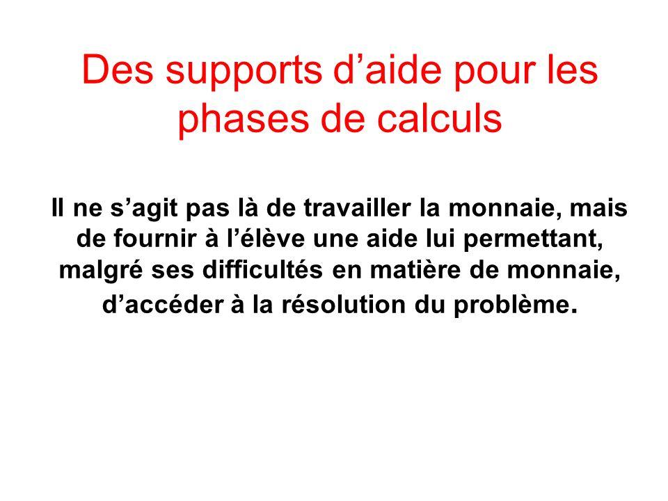Des supports d'aide pour les phases de calculs Il ne s'agit pas là de travailler la monnaie, mais de fournir à l'élève une aide lui permettant, malgré ses difficultés en matière de monnaie, d'accéder à la résolution du problème.