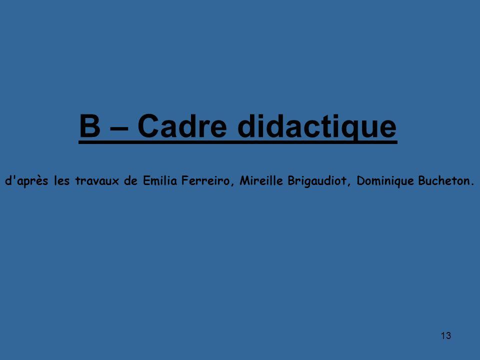 B – Cadre didactique d après les travaux de Emilia Ferreiro, Mireille Brigaudiot, Dominique Bucheton.