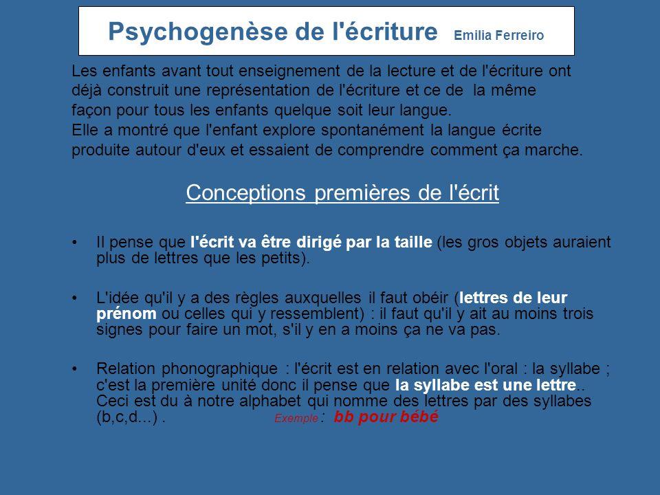 Psychogenèse de l écriture Emilia Ferreiro