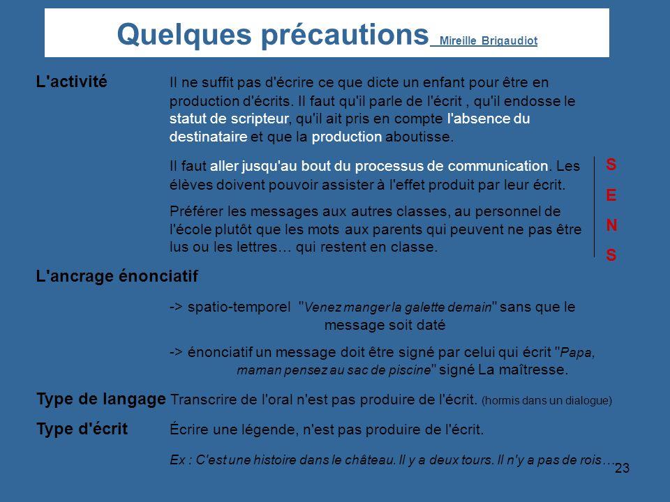 Quelques précautions Mireille Brigaudiot