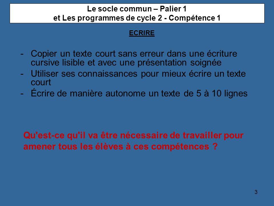 Le socle commun – Palier 1 et Les programmes de cycle 2 - Compétence 1