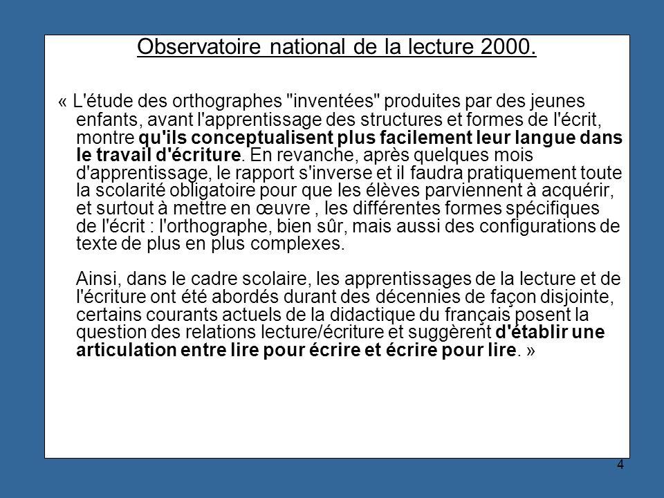 Observatoire national de la lecture 2000.