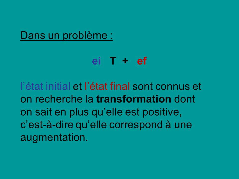 Dans un problème :ei T + ef.