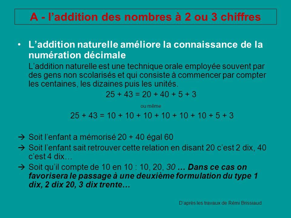 A - l'addition des nombres à 2 ou 3 chiffres