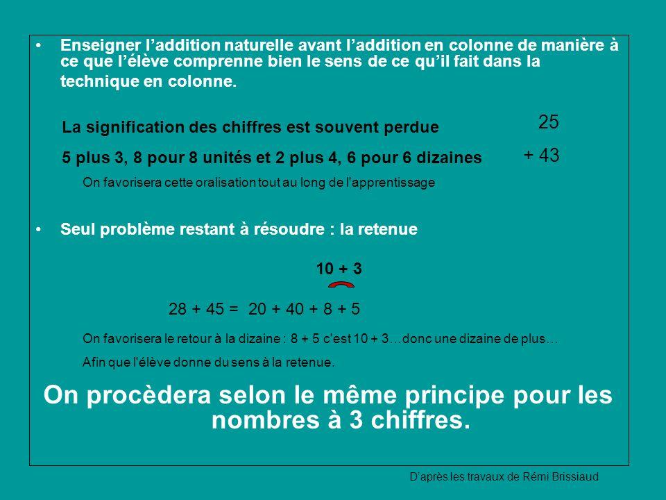 On procèdera selon le même principe pour les nombres à 3 chiffres.