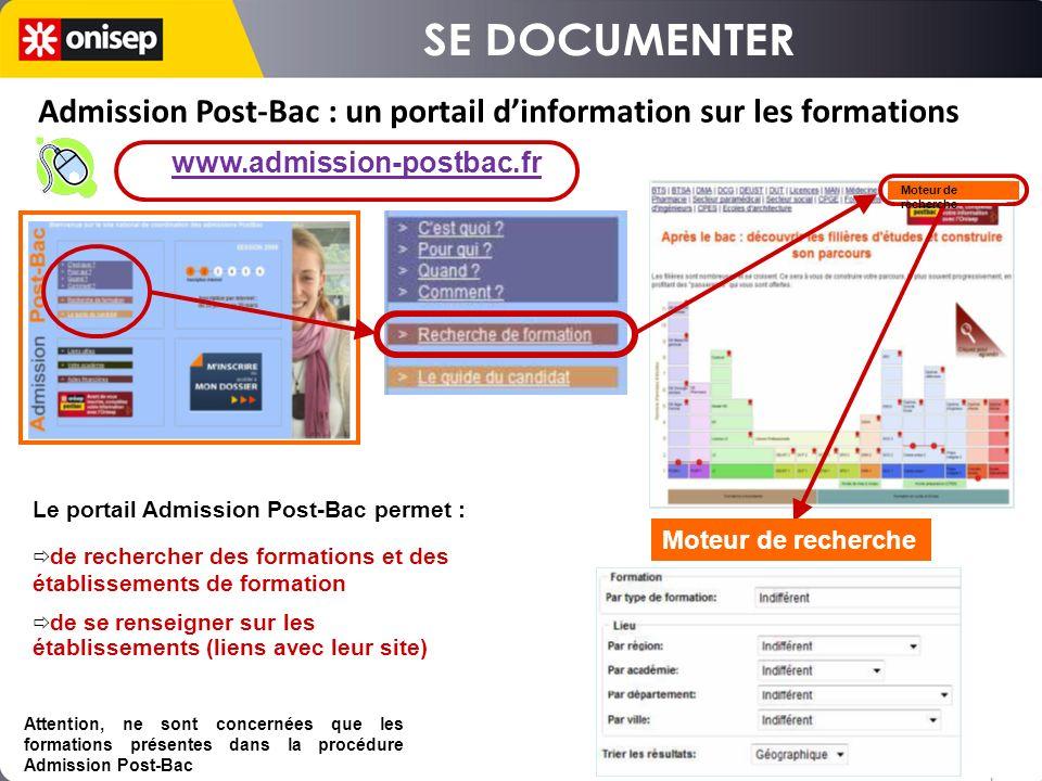 SE DOCUMENTER Admission Post-Bac : un portail d'information sur les formations. www.admission-postbac.fr.