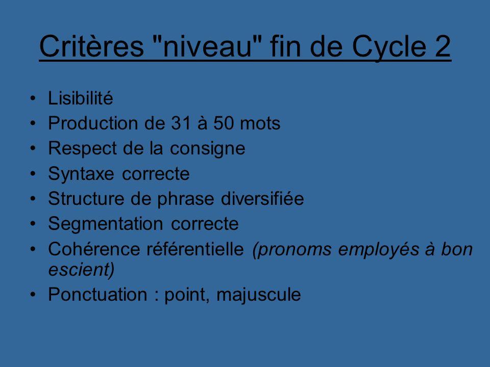 Critères niveau fin de Cycle 2