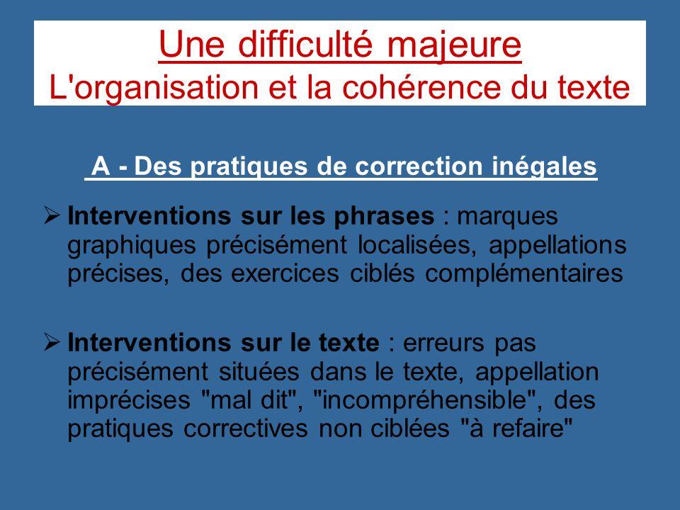 Une difficulté majeure L organisation et la cohérence du texte