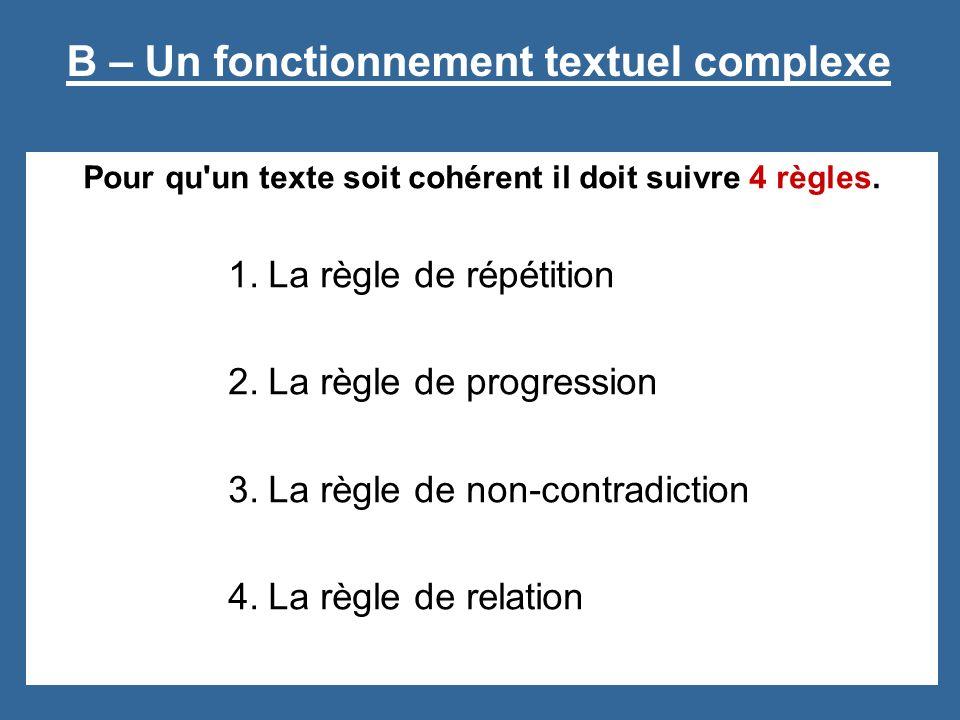 Pour qu un texte soit cohérent il doit suivre 4 règles.