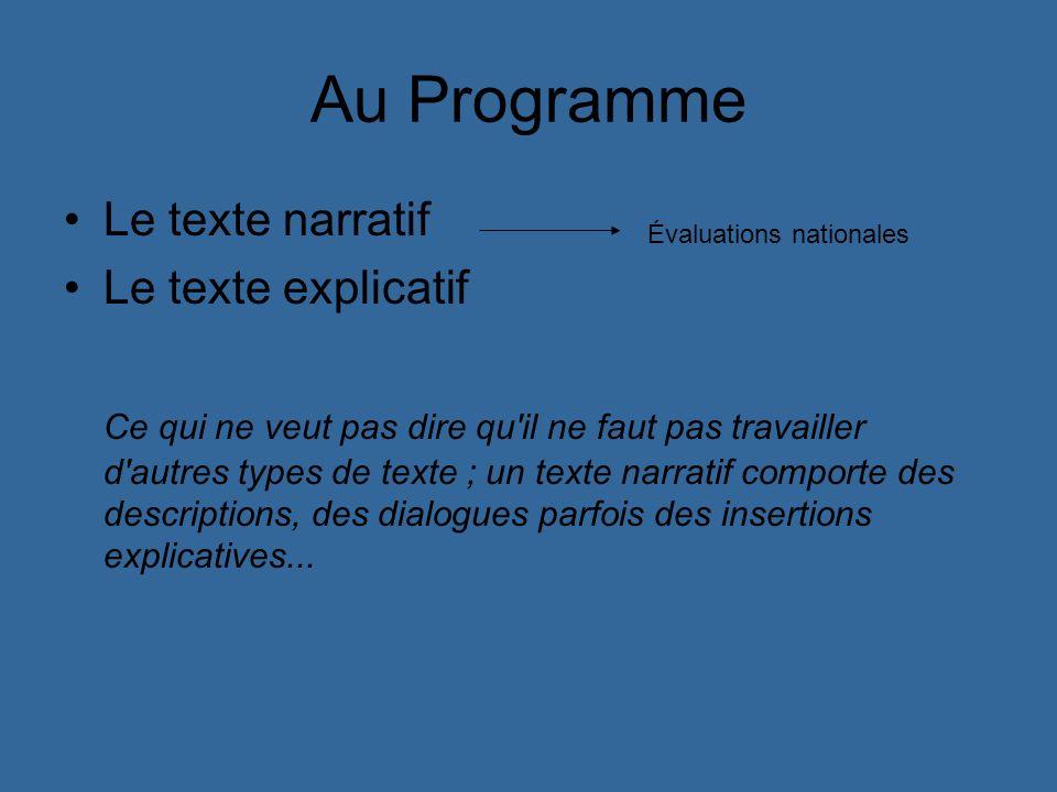Au Programme Le texte narratif Le texte explicatif