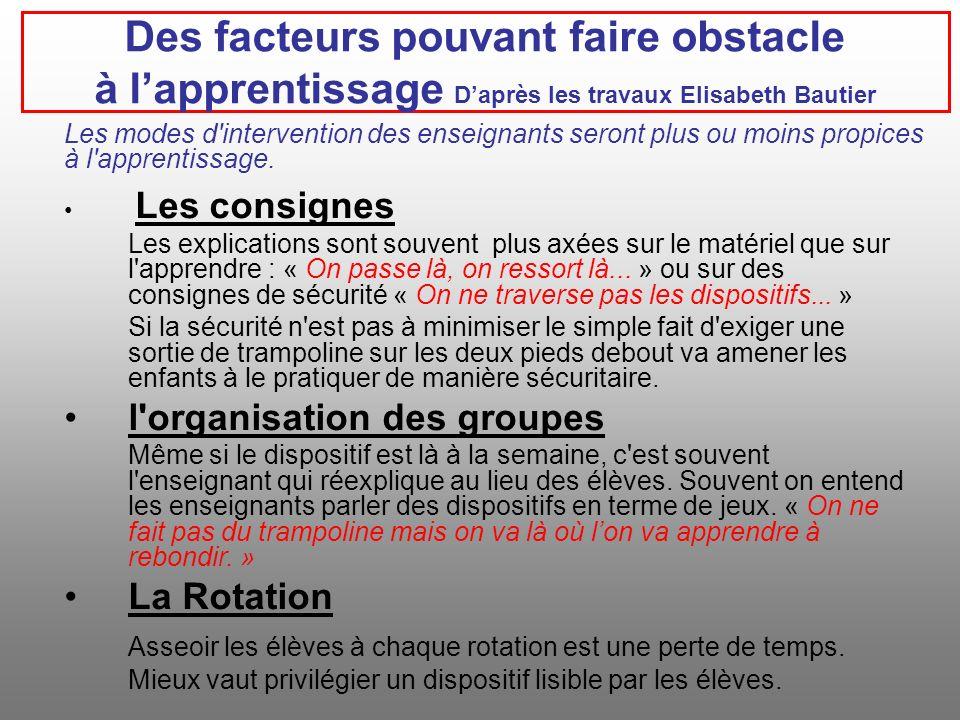 Des facteurs pouvant faire obstacle à l'apprentissage D'après les travaux Elisabeth Bautier