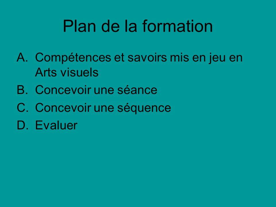 Plan de la formation Compétences et savoirs mis en jeu en Arts visuels