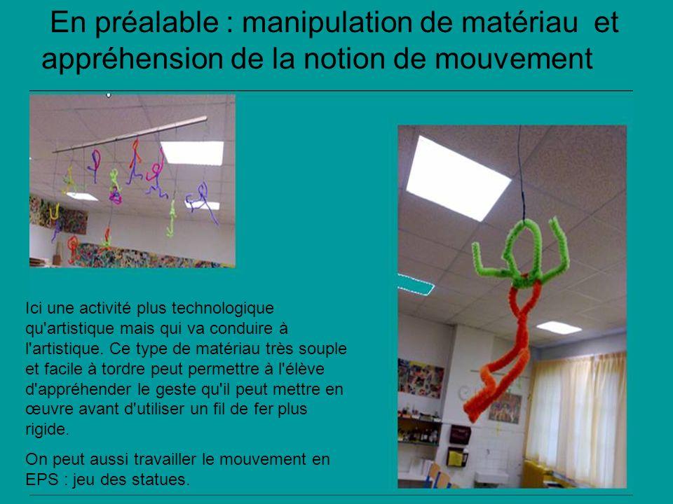 En préalable : manipulation de matériau et appréhension de la notion de mouvement