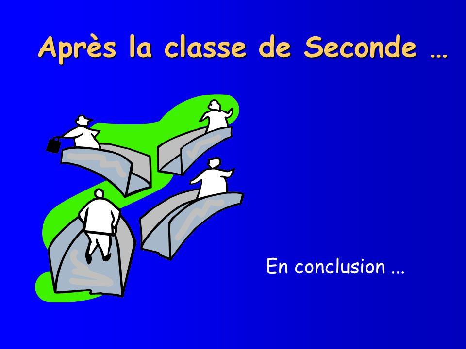 Après la classe de Seconde …