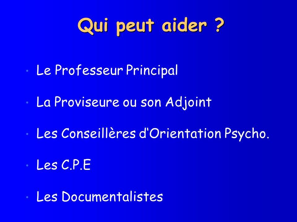 Qui peut aider Le Professeur Principal La Proviseure ou son Adjoint