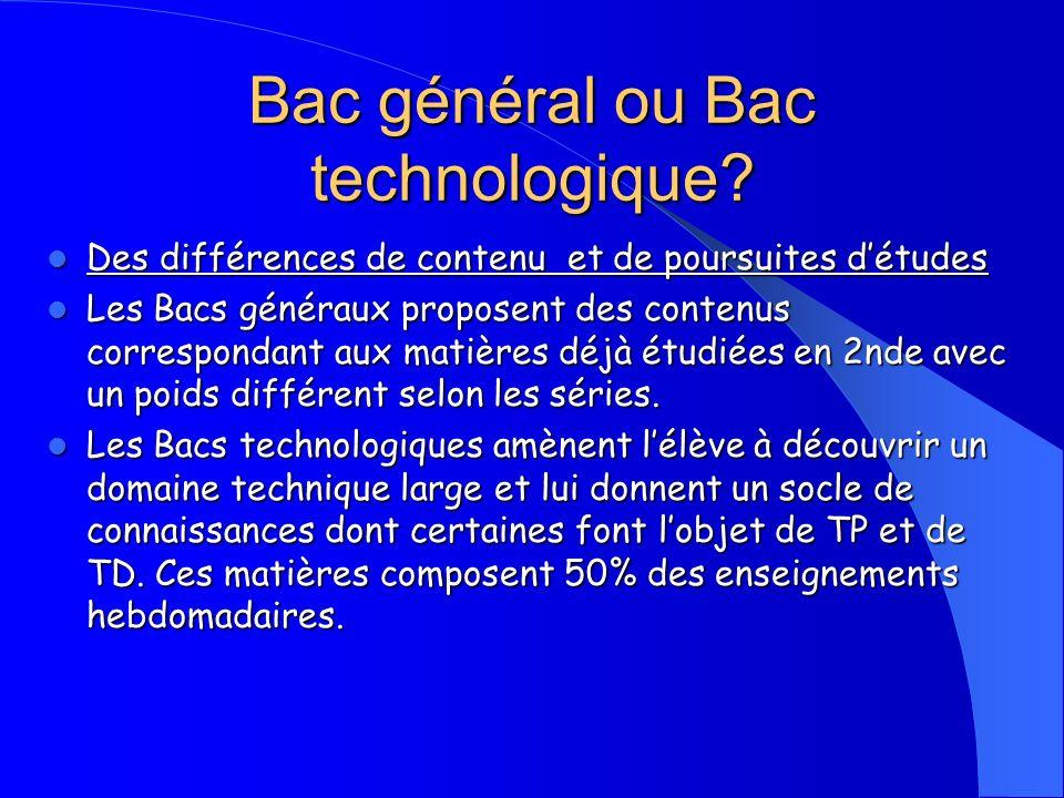 Bac général ou Bac technologique