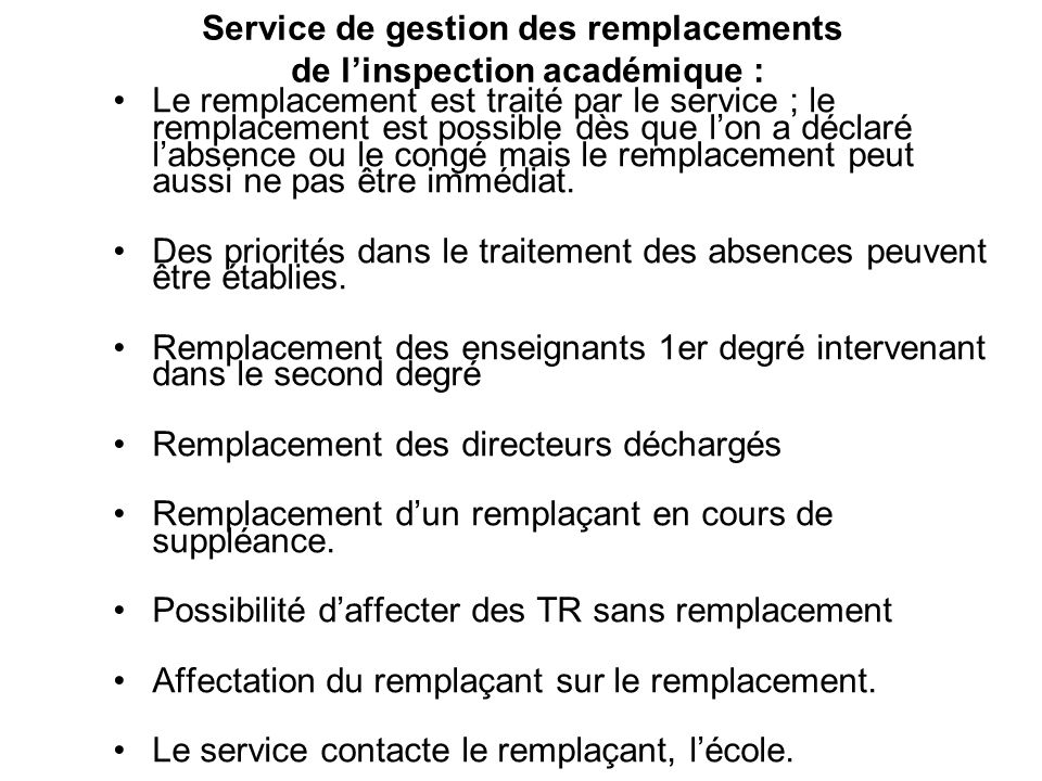 Service de gestion des remplacements de l'inspection académique :