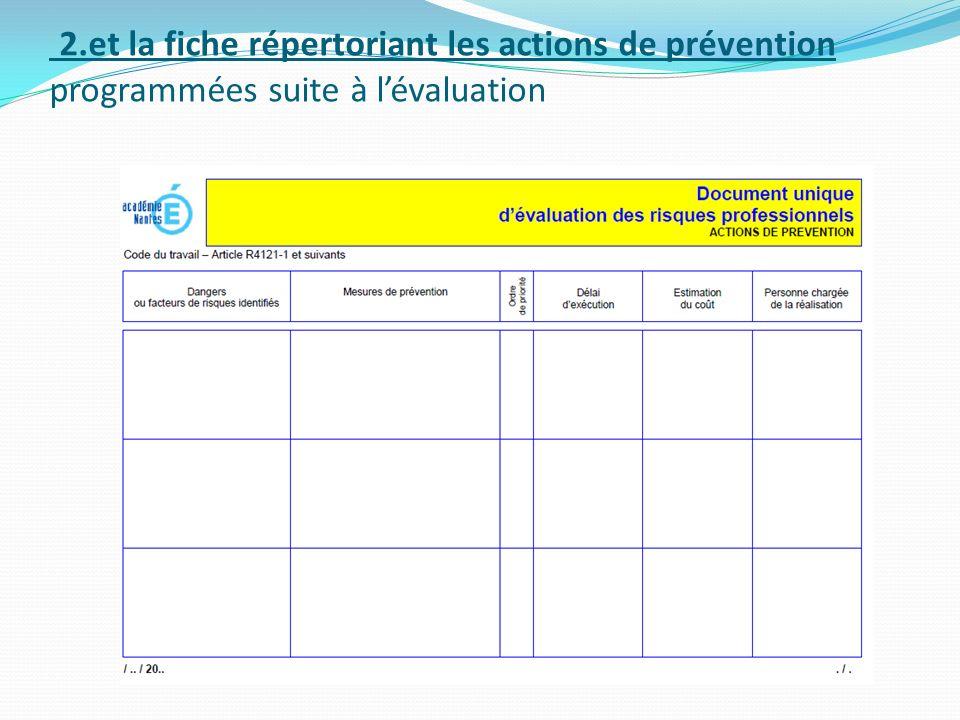 2.et la fiche répertoriant les actions de prévention programmées suite à l'évaluation