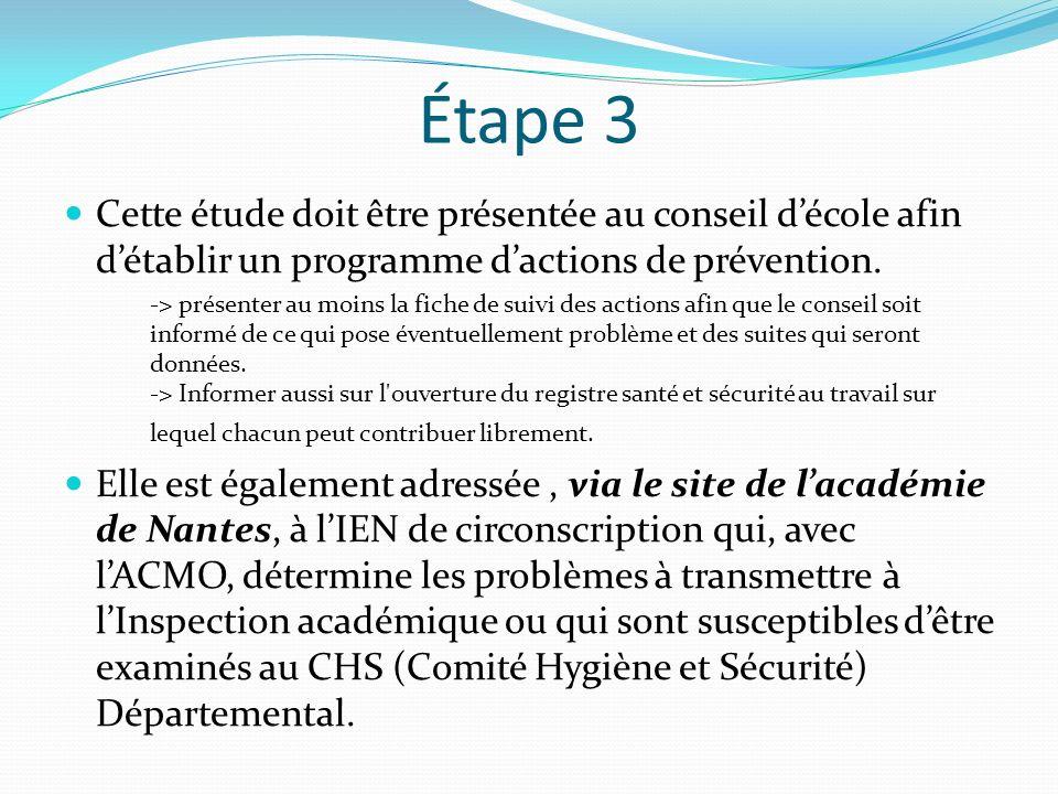 Étape 3 Cette étude doit être présentée au conseil d'école afin d'établir un programme d'actions de prévention.