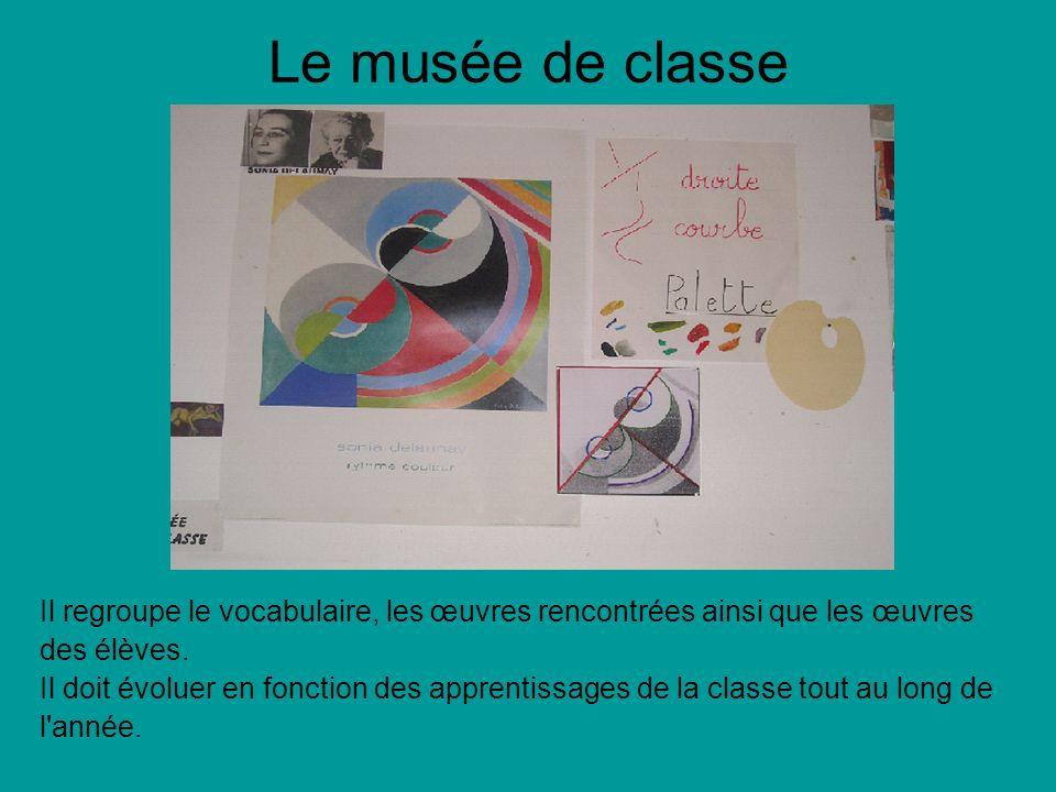 Le musée de classe Il regroupe le vocabulaire, les œuvres rencontrées ainsi que les œuvres. des élèves.
