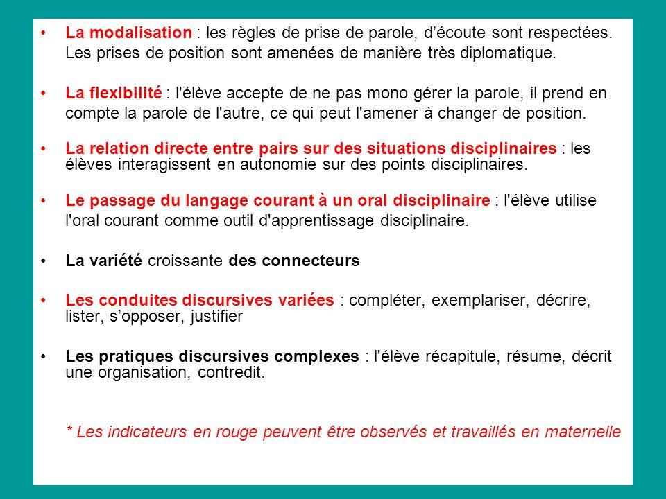 La modalisation : les règles de prise de parole, d'écoute sont respectées. Les prises de position sont amenées de manière très diplomatique.