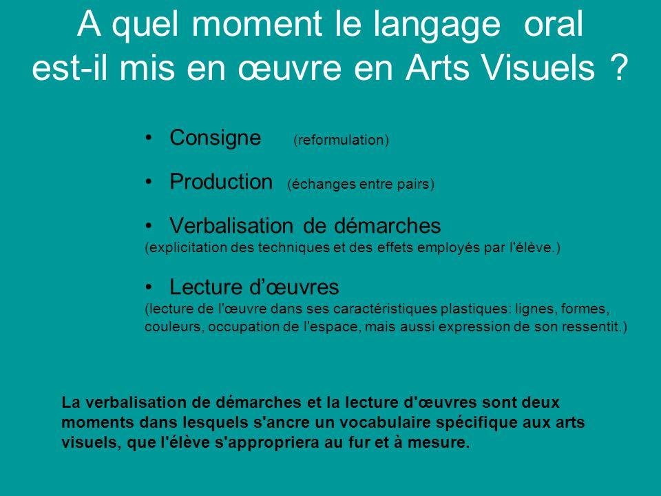 A quel moment le langage oral est-il mis en œuvre en Arts Visuels