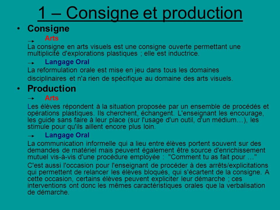 1 – Consigne et production