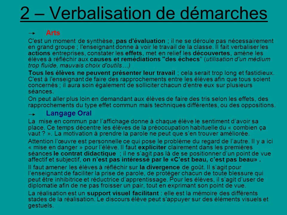 2 – Verbalisation de démarches