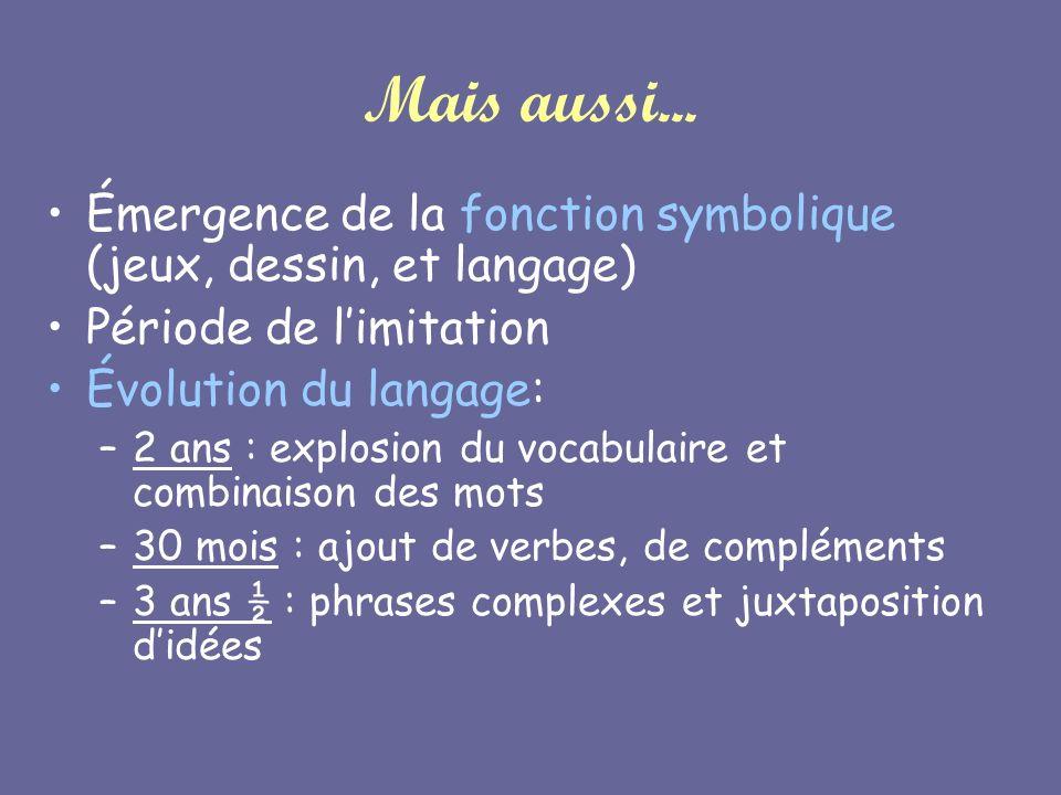 Mais aussi... Émergence de la fonction symbolique (jeux, dessin, et langage) Période de l'imitation.