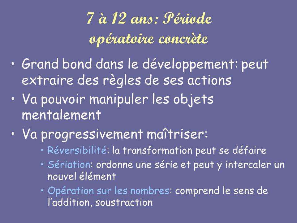 7 à 12 ans: Période opératoire concrète