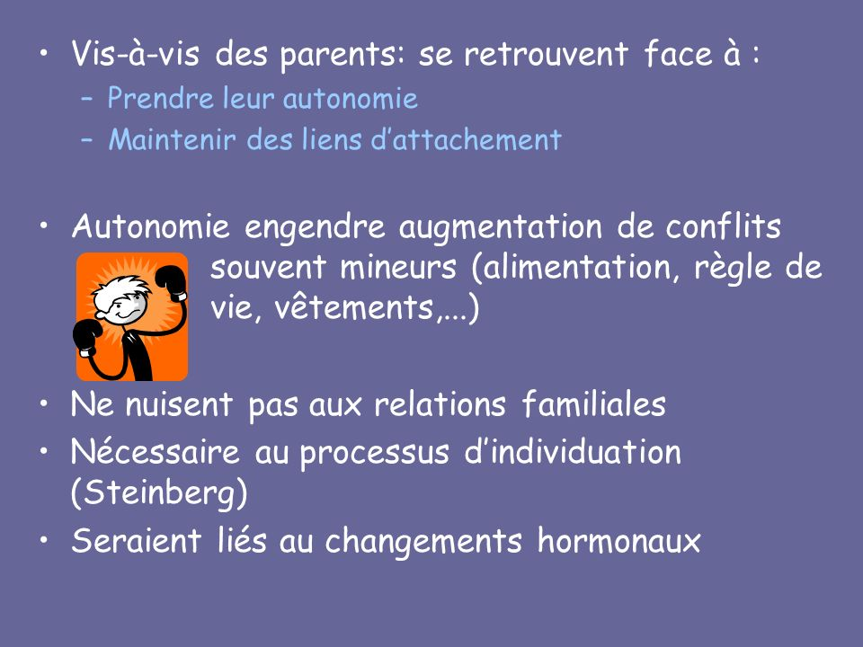 Vis-à-vis des parents: se retrouvent face à :