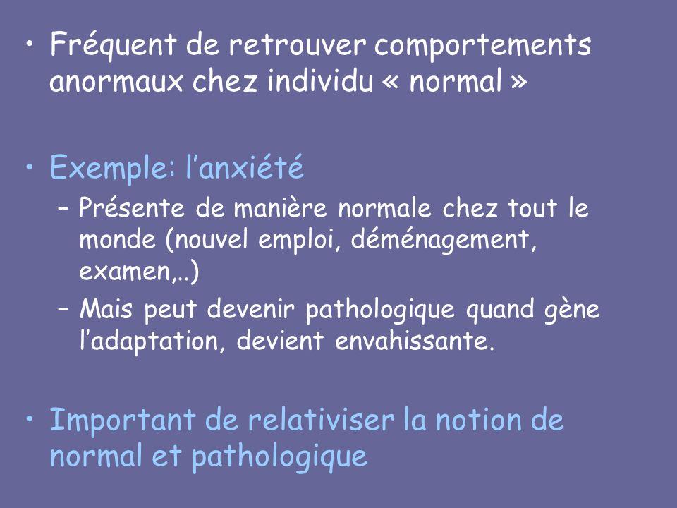 Fréquent de retrouver comportements anormaux chez individu « normal »