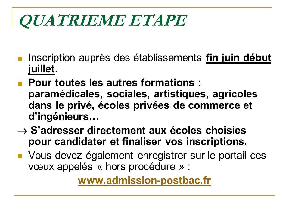 QUATRIEME ETAPE Inscription auprès des établissements fin juin début juillet.