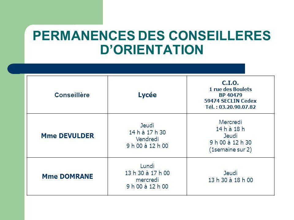 PERMANENCES DES CONSEILLERES D'ORIENTATION