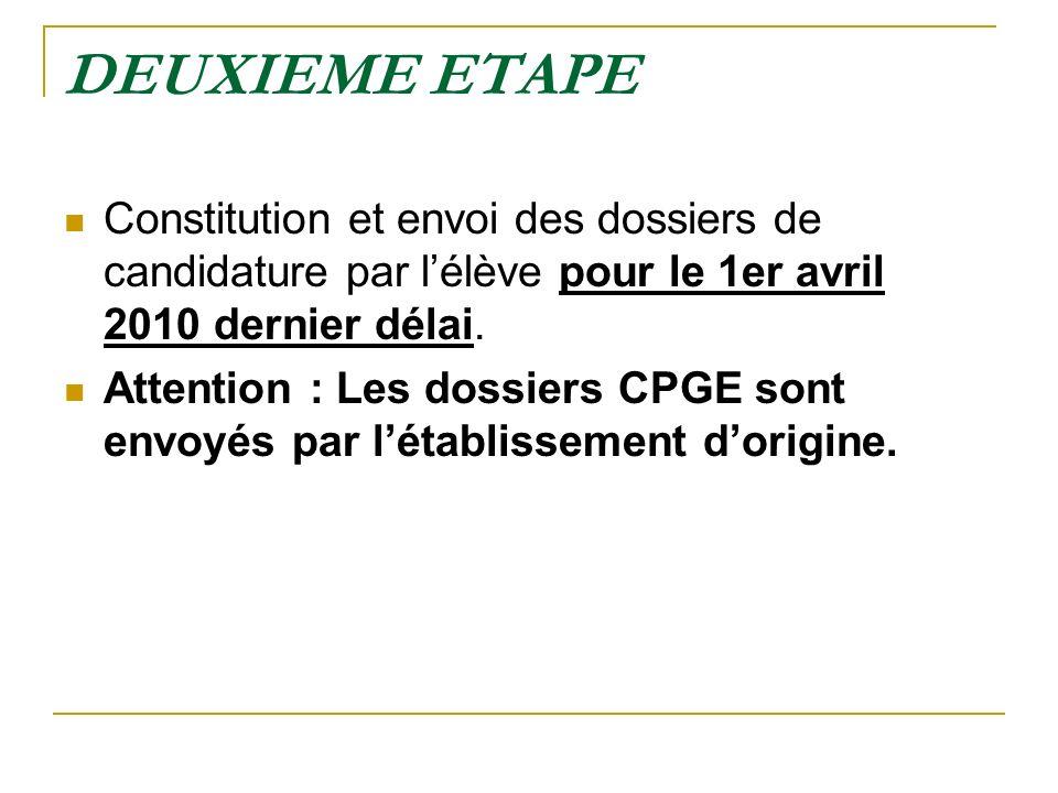 DEUXIEME ETAPE Constitution et envoi des dossiers de candidature par l'élève pour le 1er avril 2010 dernier délai.