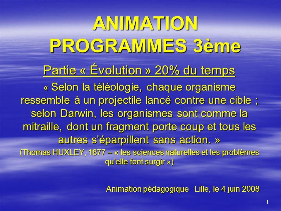 ANIMATION PROGRAMMES 3ème