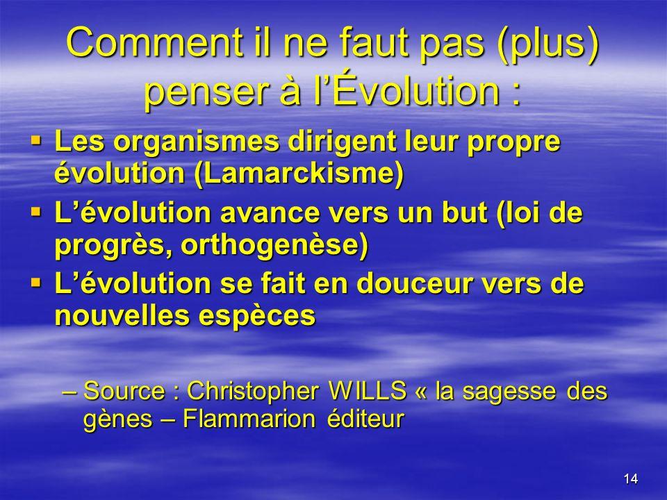 Comment il ne faut pas (plus) penser à l'Évolution :