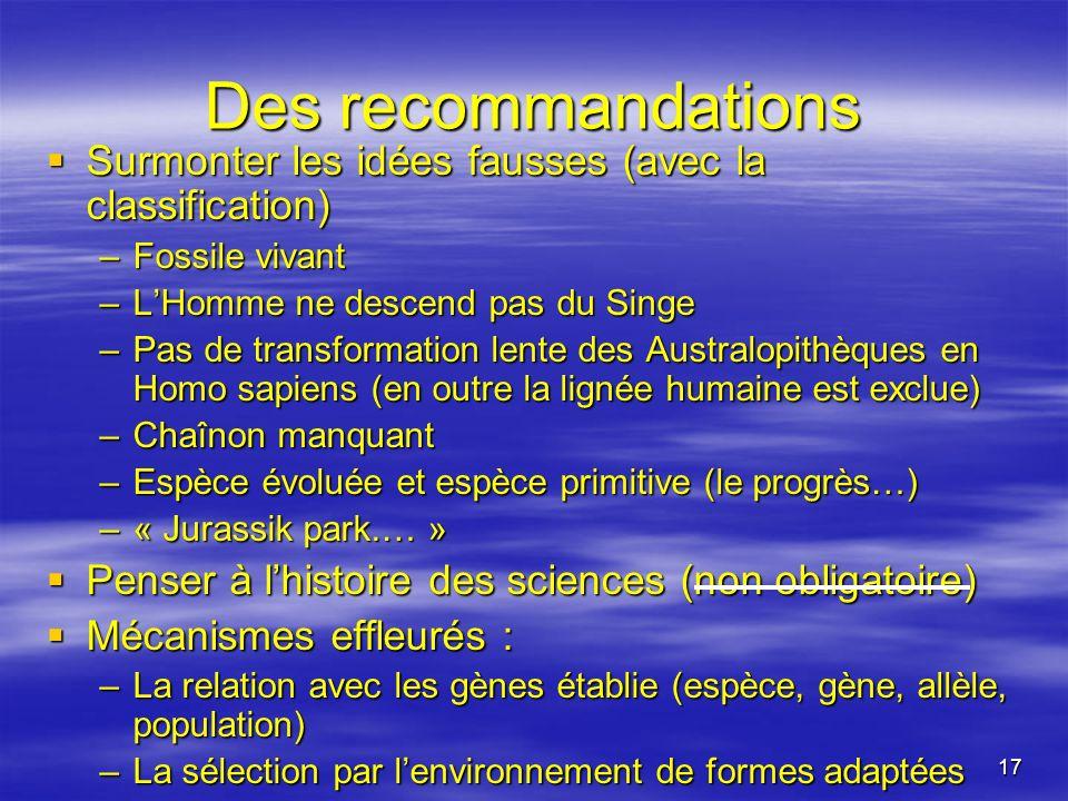 Des recommandations Surmonter les idées fausses (avec la classification) Fossile vivant. L'Homme ne descend pas du Singe.