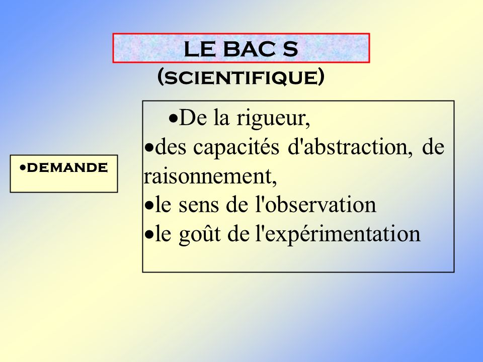 LE BAC S (scientifique)