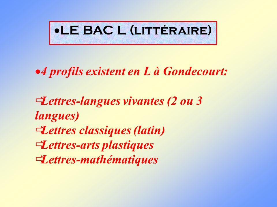 LE BAC L (littéraire) 4 profils existent en L à Gondecourt: