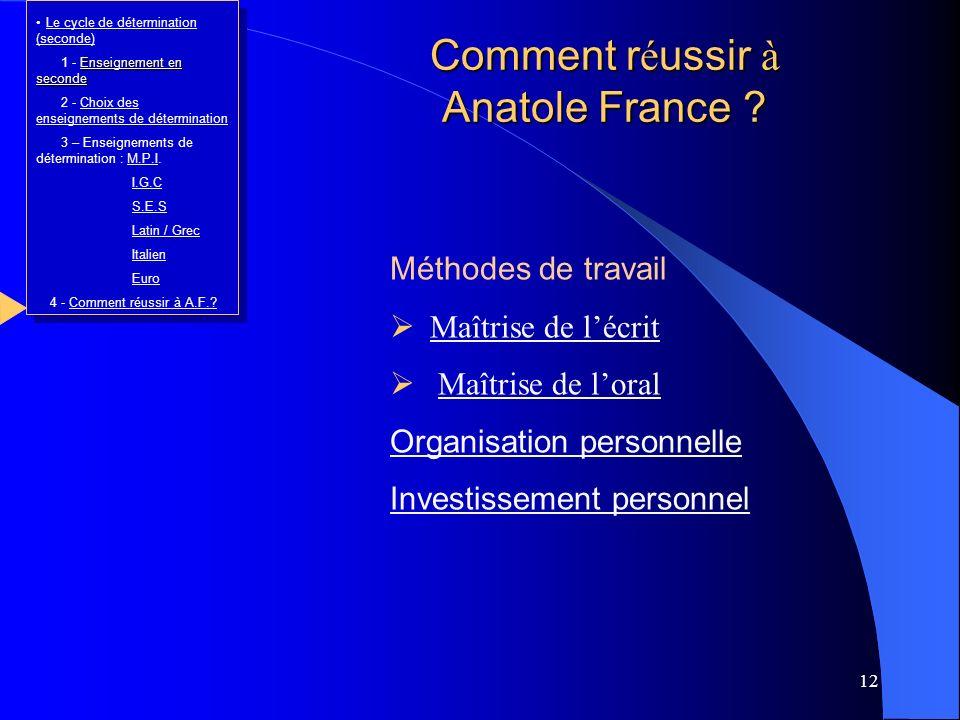 Comment réussir à Anatole France