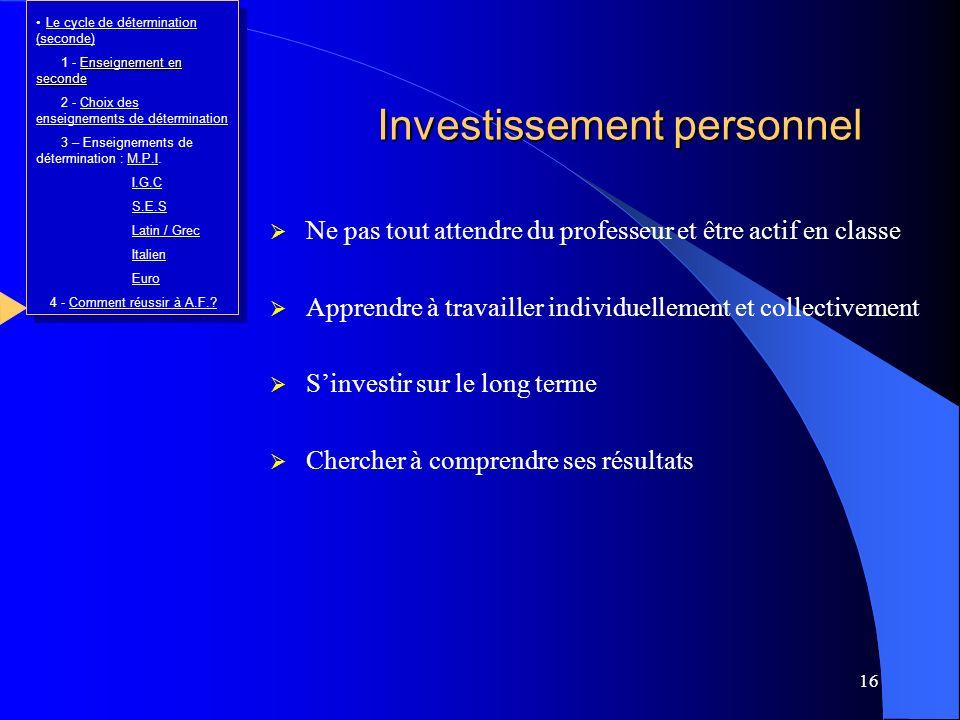 Investissement personnel