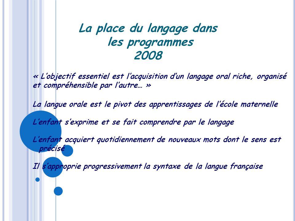 La place du langage dans les programmes 2008