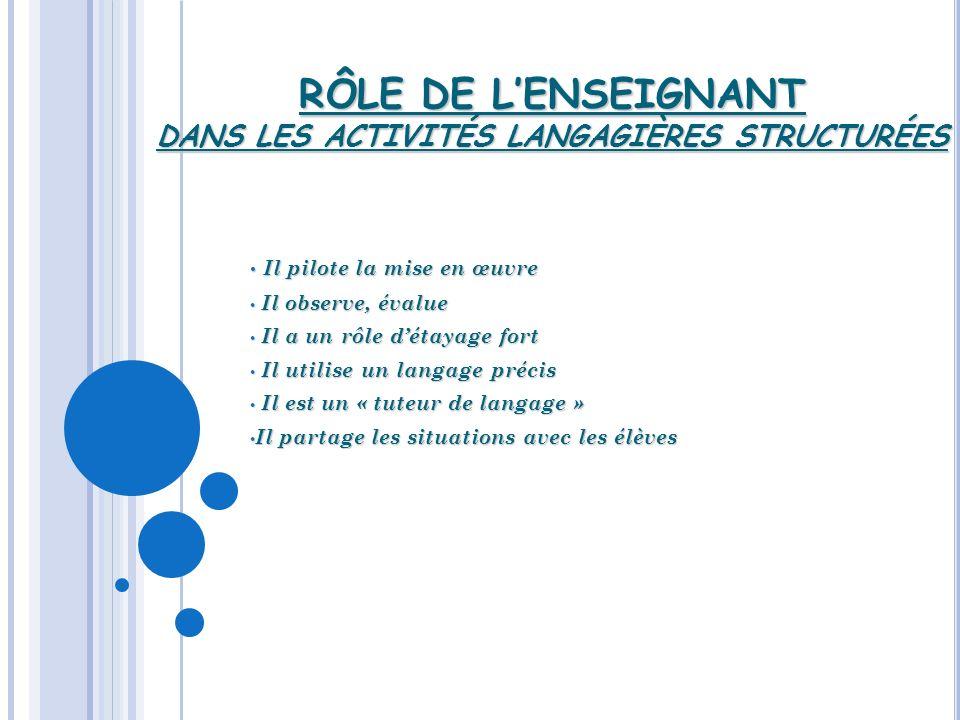 RÔLE DE L'ENSEIGNANT DANS LES ACTIVITÉS LANGAGIÈRES STRUCTURÉES