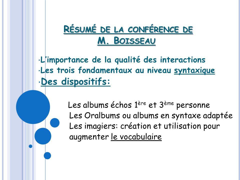Résumé de la conférence de M. Boisseau