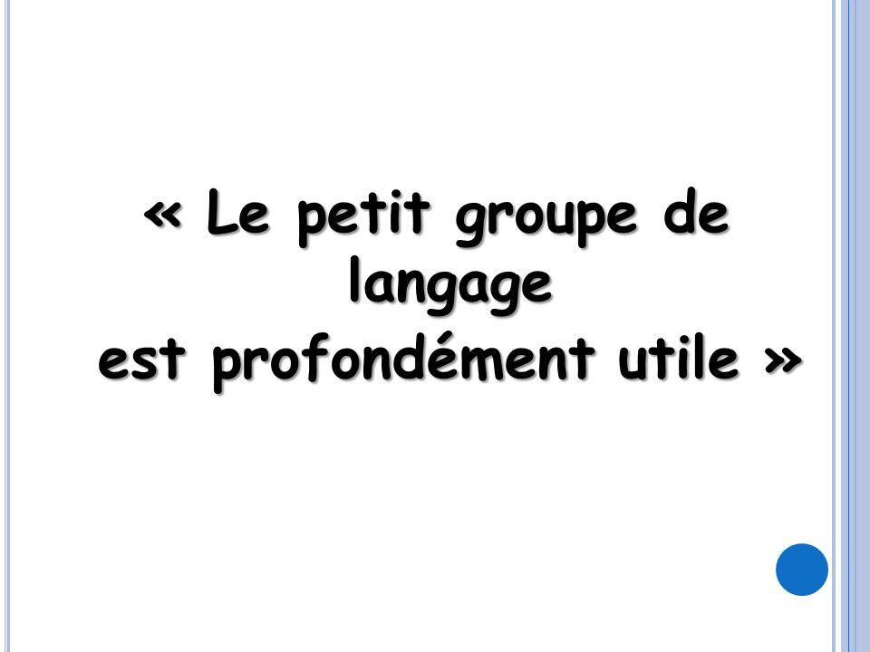 « Le petit groupe de langage est profondément utile »