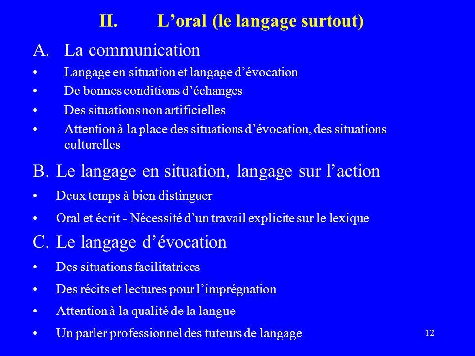 L'oral (le langage surtout)